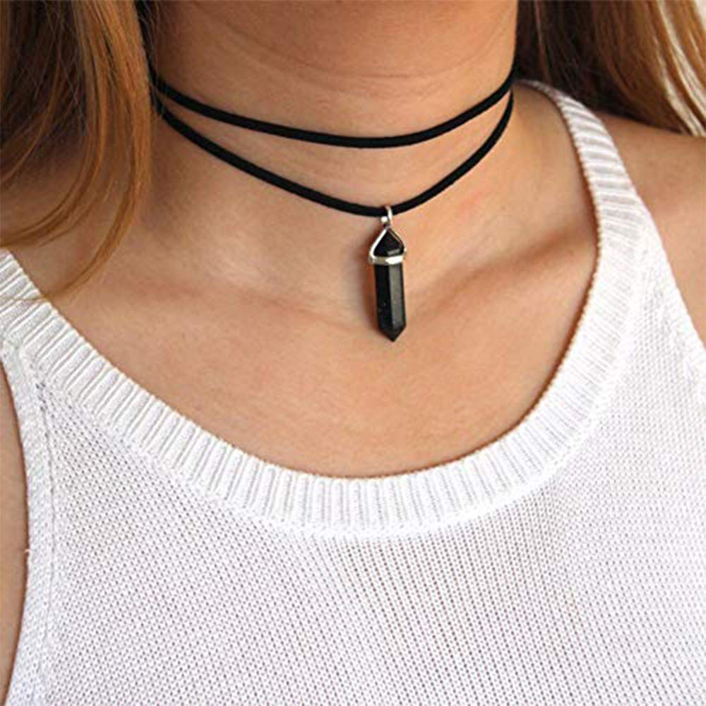 Black Anglacesmade Layered Choker Necklace Crystal Choker Chakra Suede Choker Hexagonal Gemstone Pendant Necklace Bohemia Jewelry for Women and Girls