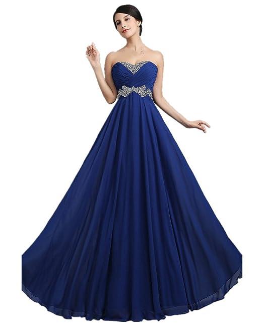 KaiDun Elegante Vestido para mujer Sin tirantes Larga vestido de noche de fiesta Azul Real 36