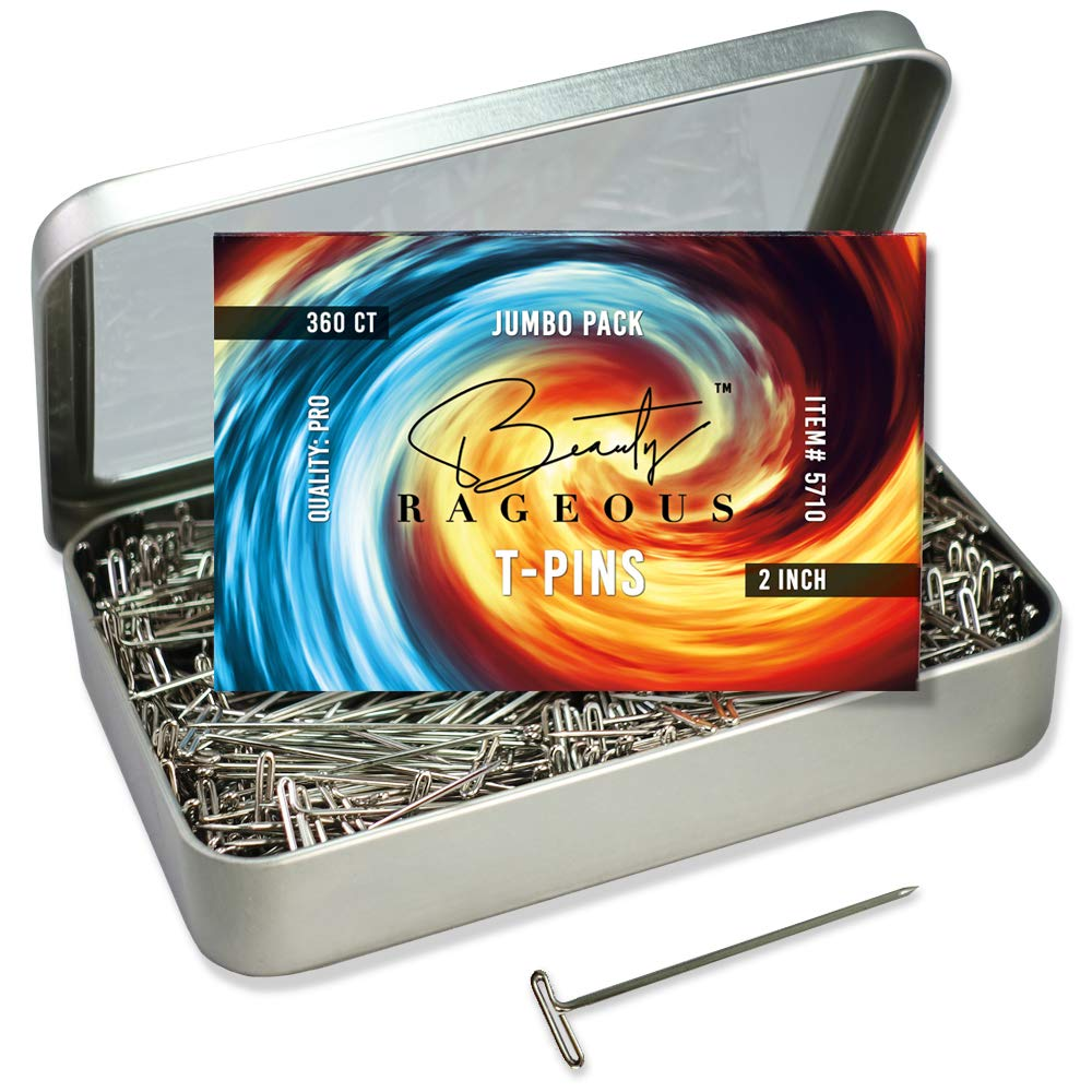 T-Pins 360 Ct, 2 Inch, Hinged Reusable Tin by Beauty Rageous