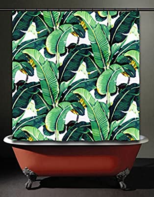 Shower Curtain, 70 x 71 inches. 100% Posh & Soft Woven Polyester Fabric Banana Leaf Brazilliance Tropical Jungle Green Palm