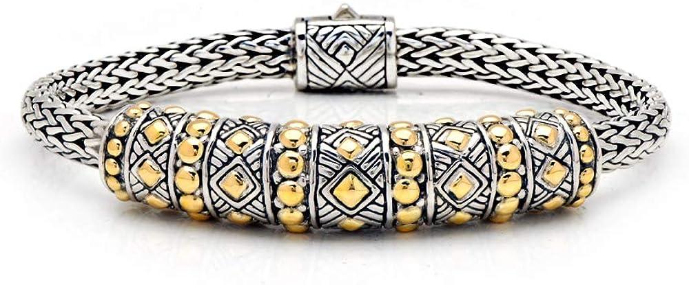 Deni Jewelry ゴールドとシルバーブレスレット チューランナガチェーン 4x6mm スプリングロック バリニーズ織モチーフ