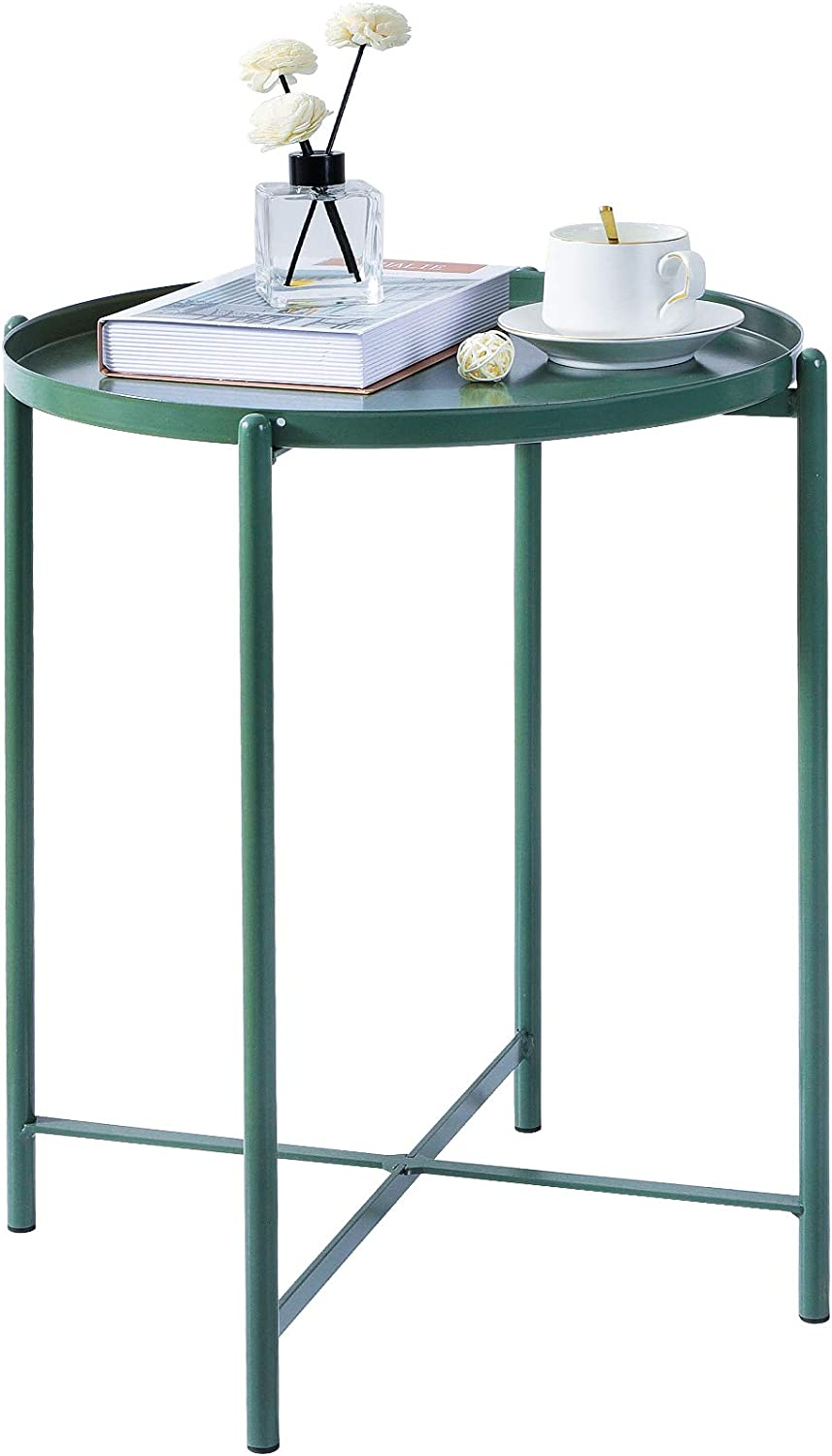 Haton End Table, Folding Metal Side Table, Waterproof Round Accent Table with Anti-Rust Matte Surface, Sofa Tea Coffee Table with Removable Tray for Living Room, Bedroom, Balcony, 16.6 x 20.7 Inch: Kitchen & Dining
