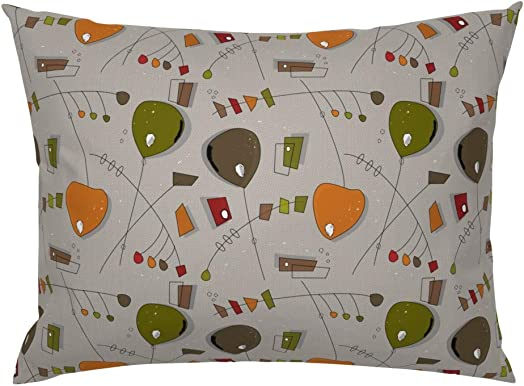 Roostery Pillow Sham, Mid-Century Modern Atomic Mobiles Kinetic Mobiles Mid-Century Modern Mobi Geometric Pattern Vintage Print, 100 Cotton Sateen 26in x 20in Knife-Edge Sham