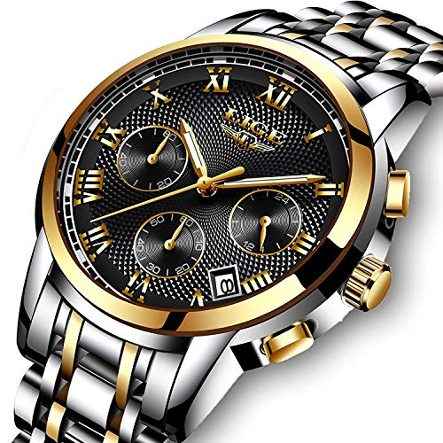 Luxury Mens Watch Quartz Analog Stainless Steel Waterproof Chronograph Date Wristwatches Silver Black Gold Tone …
