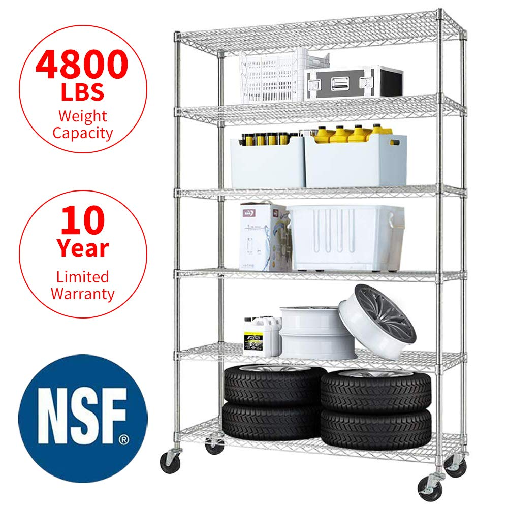 "Meet perfect Commercial-Grade Heavy Duty 6-Tier NSF-Certified Metal Steel Wire Shelving Units with Wheels, 76"" H x 48"" L x 18"" D Adjustable 4800LBS Utility Storage Shelves for Garage Kitchen- Chrome"