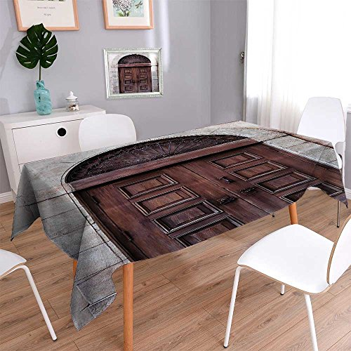 Waterproof Spill Proof Tablecloth eArched Wooden Venetian Door with Islamic Royal Ottoman Elements European Culture for Picnic, Outdoor or Indoor Party use 60''x84'' by Vanfan