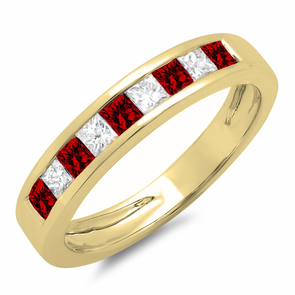 10K Yellow Gold Princess Cut Garnet & White Diamond Ladies Anniversary Stackable Ring (Size 7.5)