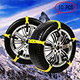 Car Security Chains Snow Anti Slip Tire Chains Adjustable Chains For Car Fit For Most Car SUV Truck Vans 10PCs Tire Width:185-225mm/7.2-8.9''(Yellow)