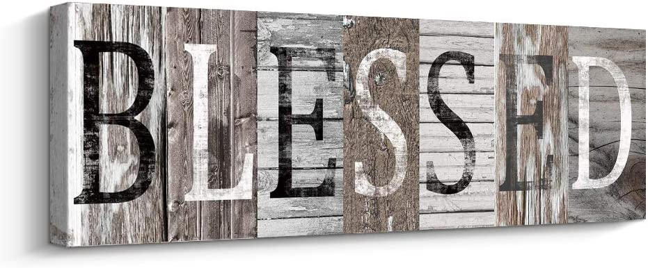 Blessed Sign Canvas Wall Art Decor Inspirational Motto Canvas Prints (with Solid Wood Inner Frame) (Blessed, 6 x 17 inch)