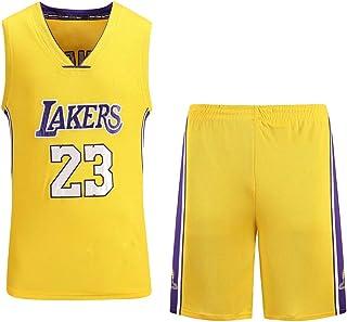 MAZO-SPORT Lakers James 23rd Jersey per Adulti,Maglia da Basket Ricamata,Maglietta Estiva da Basket Assorbente dal Sudore,Magliette da Allenamento Pallacanestro Giallo