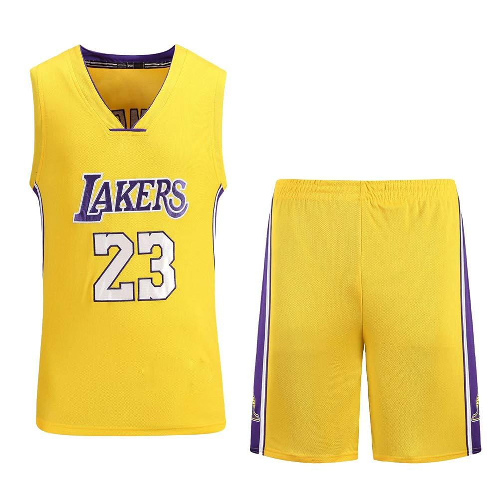 MAZO-SPORT Lakers James 23. Jersey Zum Erwachsene, Bestickt Basketball Jersey, Sommer Schweiß- Saugfähig Basketball T-Shirt, Basketball Ausbildung Hemden Gelb B07Q5FTW5J Spieltrikots Sorgfältig ausgewählte Materialien