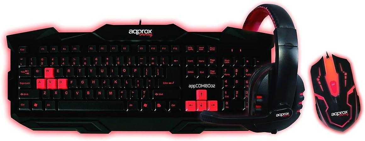 Approx - Kit Gaming Teclado+ratón+Auricular appcombo