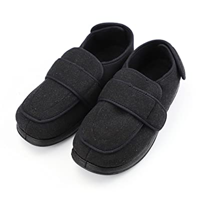 0f89dc8f1dbe Amazon.com  Men s Memory Foam Diabetic Slippers with Adjustable  Closures