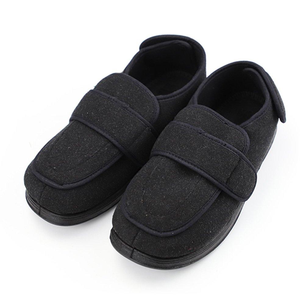 Men's Memory Foam Diabetic Slippers with Adjustable Closures,Comfy Warm Extra-Depth & Wide Fleece Arthritis Edema Swollen House Shoes