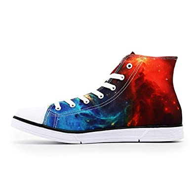 ff922e04aa8f1 Amazon.com | FIRST DANCE Galaxy Print Unisex High Top Canvas Shoes ...