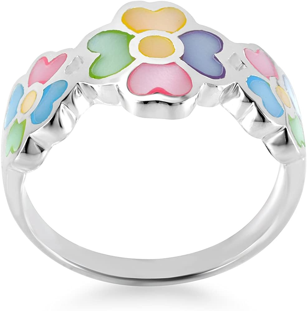 Chuvora 925 Sterling Silver Multi-Colored Mother of Pearl Shell Flower Band Ring Size 8