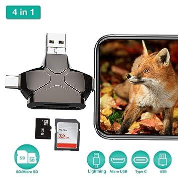 Lector de tarjetas SD 4 en 1, lector de tarjetas Micro SD ...