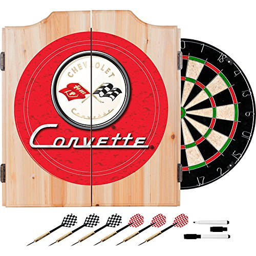 Corvette C1 Red Design Deluxe Wood Cabinet Complete Dart Set by TMG
