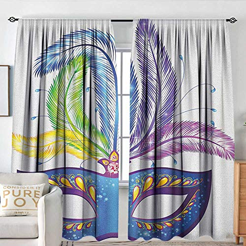 Rod Pocket Curtains Mardi Gras,Blue Ornate Venetian Festival Mask with Feathers Masquerade Parade Preparations, Multicolor,for Room Darkening Panels for Living Room, Bedroom 54