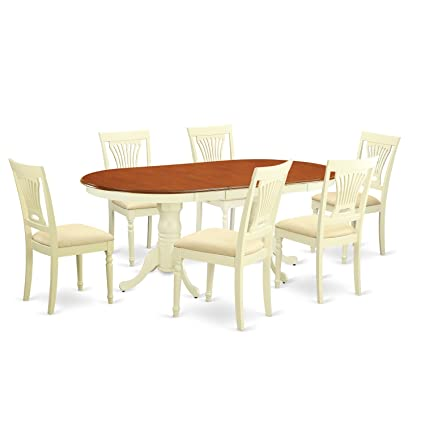 Merveilleux East West Furniture PLAI7 WHI C 7 Piece Dining Table Set, Buttermilk