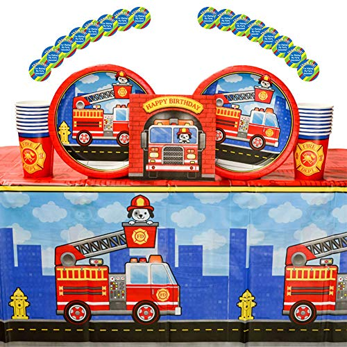 5-Alarm Flaming Fire Truck Party Supplies Pack for 16 Guests | 16 Stickers, 16 Dinner Plates, 16 Luncheon Napkins, Paper Cups, Table Cover| Fire Truck Birthday Party Bundle for Your Little Firefighter