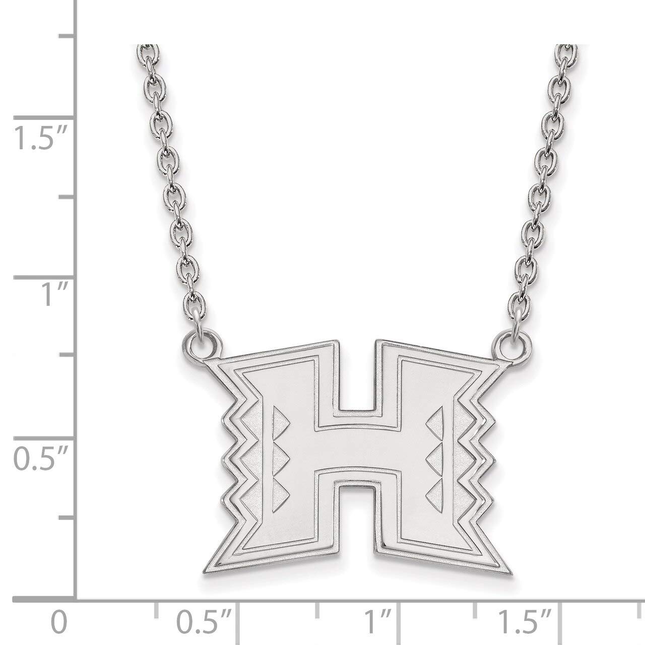 Lex /& Lu LogoArt Sterling Silver The University of Hawaii Large Pendant w//Necklace