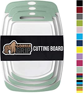 Gorilla Grip Original Reversible Cutting Board, 3 Piece, BPA Free, Dishwasher Safe, Juice Grooves, Larger Thicker Boards, Easy Grip Handle, Non Porous, Extra Large, Kitchen, Set of 3, Mint