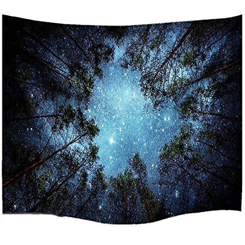 60' Tapestry Throw Blanket (Night Sky and Tree Mandala Bohemian Tapestry Wall Hanging Indian Wall Art (M/ 80