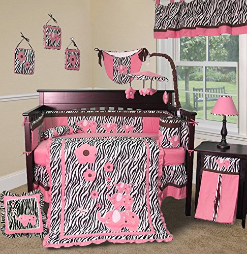 SISI Baby Girl Boutique - Pink Zebra 14 PCS Crib Nursery Bedding Set Including Lamp Shade]()