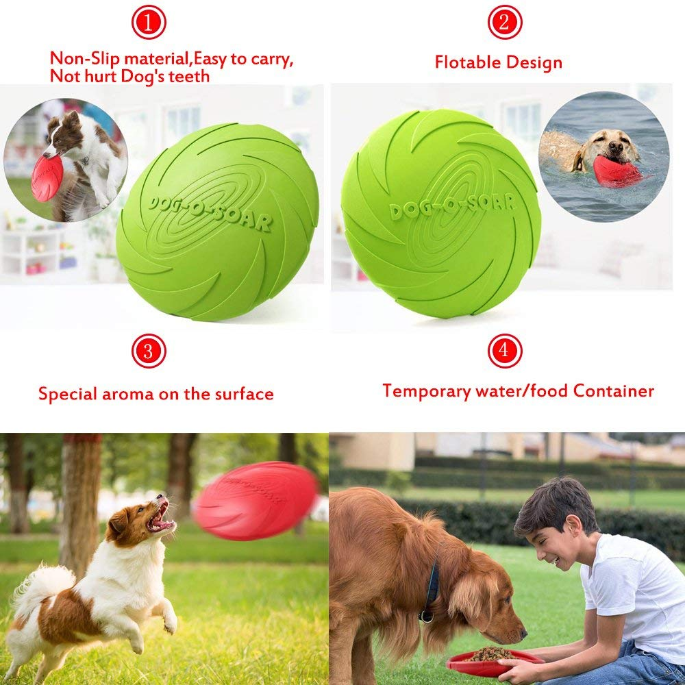 or Large Dogs Outdoor Flight,1pcs Medium Dog Frisbee Toy,Pet Training Cyber Rubber Flying Saucer Interactive Toys,Floating Water Dog Toy Suitable for Small