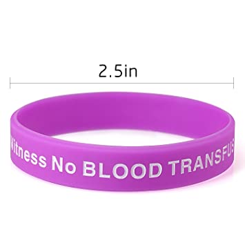 JW ORG No Blood Medical Alert Flexible Silicone Wristband-10 pcs