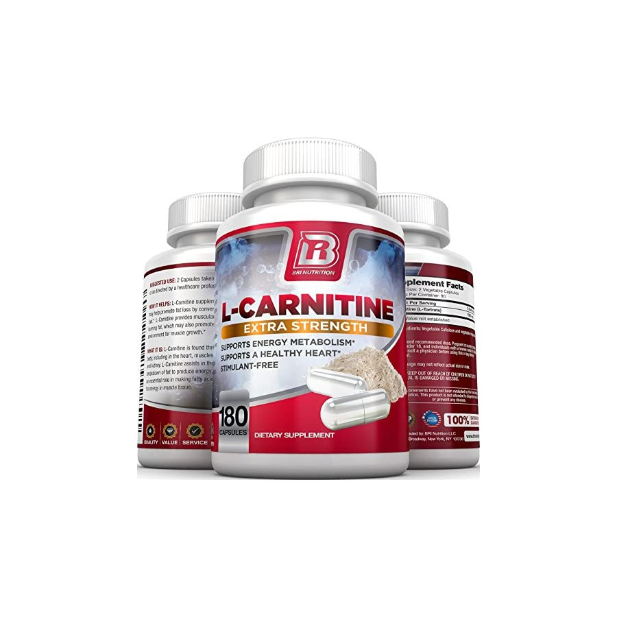 BRI L Carnitine 1000mg per Serving Premium Quality Carnitine Amino Acid Natural Fat Burner Supports Athletic Performance, Stamina and Heart Health; Stimulant Free Veggie Capsules