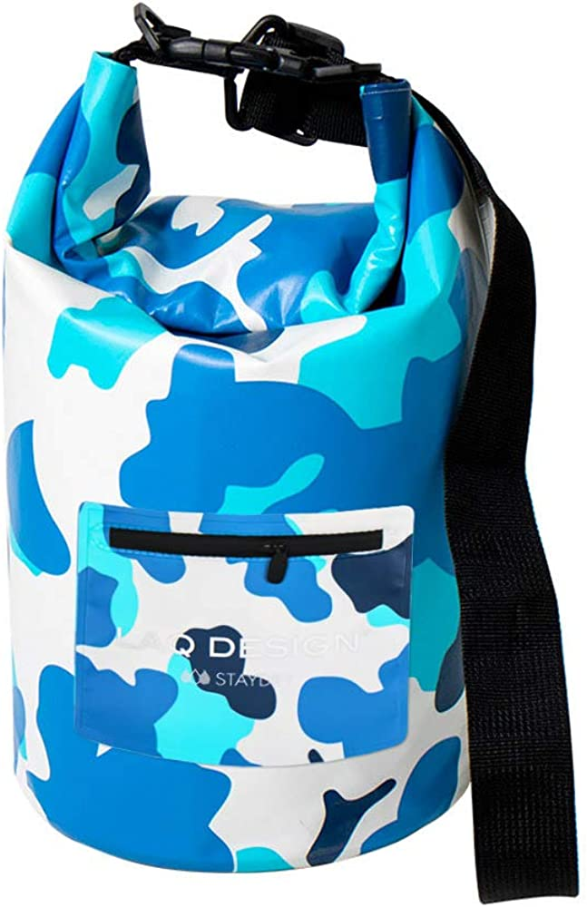 LAQ DESiGN Outdoor Waterproof Dry Bag, Fishing Backpack with Adjustable Shoulder Strap, 10 Litre and 20 Litre Dry Bag for Boating, Kayaking, Trekking, Beach, Fishing