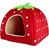 Belle fraise doux cachemire chaud Pet Nest Dog Cat Bed Red pliable