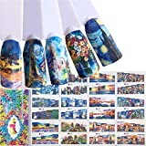 48 Pattern 4 Sheets Water Transfer DIY Nail Art Decals Stickers With Flower Beauty Girl Cartoon Landscape And Different Patterns For Women And Kids