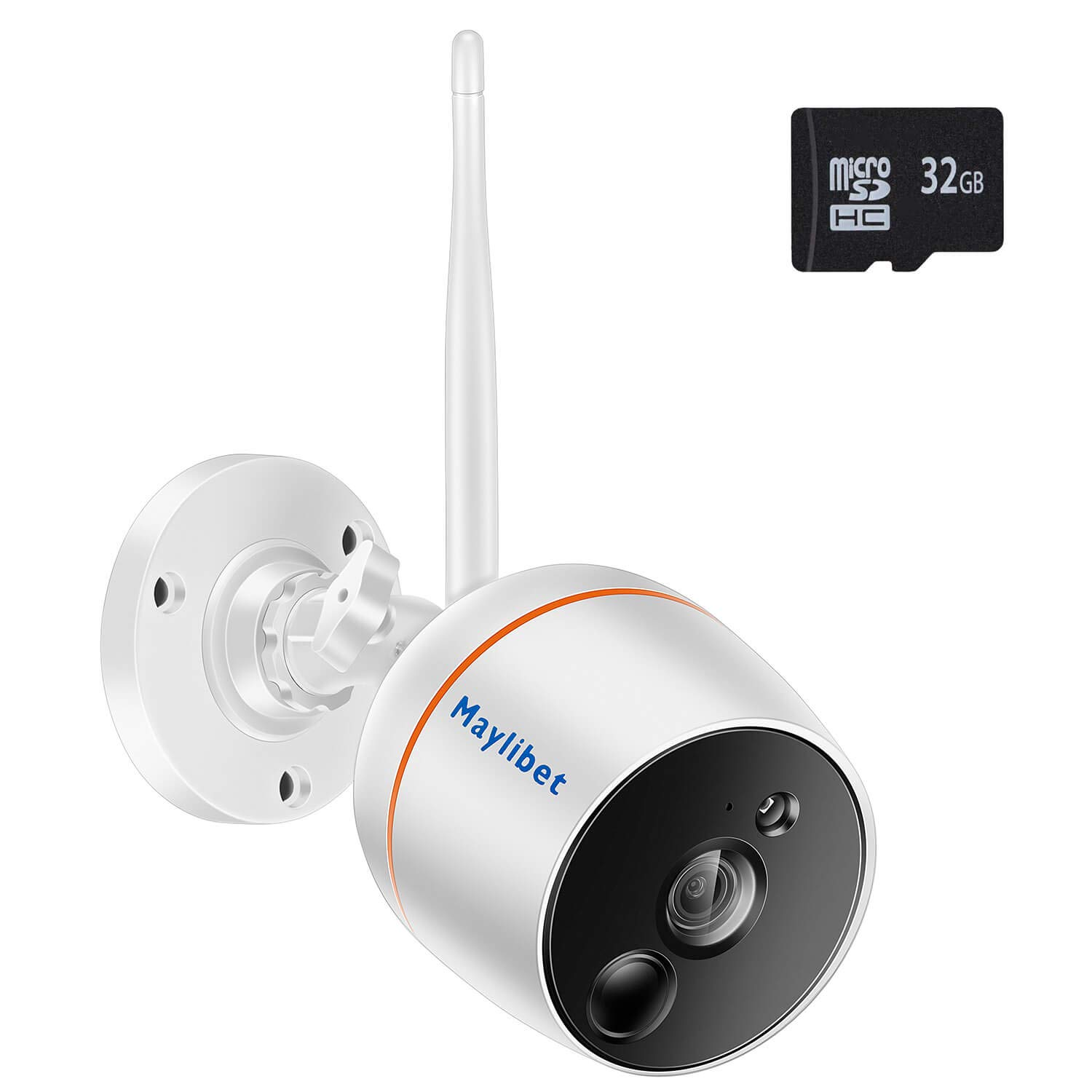 Wireless Security Camera Surveillance System with Motion Detection and Audio for Home Outdoor Indoor, Smart 2.4GHz WiFi 2MP Bullet IP Camera with iOS/Android APP, Pre-Installed 32GB SD Card Record