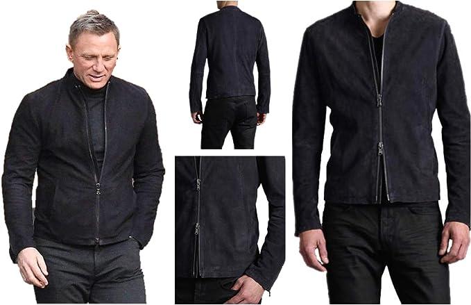 Men/'s James Bond Specter 007 Genuine Black Suede Leather Jacket All Sizes