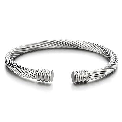 COOLSTEELANDBEYOND Fina Cable de Acero Pulsera de Hombre Mujer, Acero Inoxidable, Color de Plata, Espejo Pulido, Elástica Ajustable
