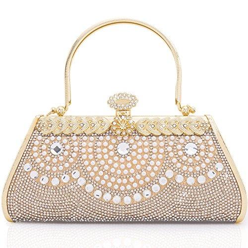 - Women Clutch Bag Rhinstone Artificial Pearls Decorative Sparkling Vintage Classic Evening Shoulder Bag Girls Ladies Gold Elegant Compact Handbag Purse Fr Weddings Party Ceremony Hard Cover (Gold 10)