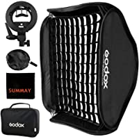 Godox Foldable Grid Softbox 60x60cm/24x24in with S-Type Flash Bracket Bowens Mount Holder for Studio Flash Speedlight Photography