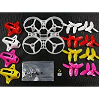 UUMART 75mm Tiny Whoop Frame Kits with Canopy for KINGKONG TINY 7X DIY Micro FPV Quadcopter Mini Drone (Red/White/Yellow/Rose Red)