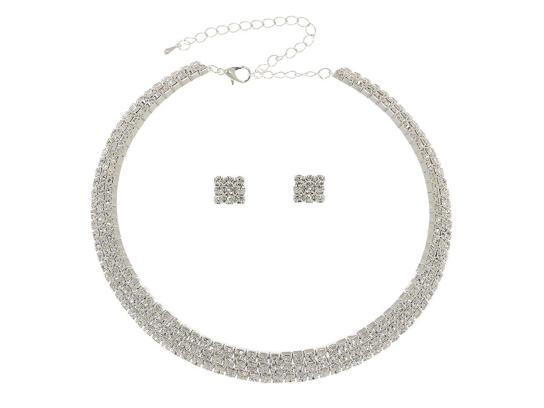 Venus femmes Élégant Jewelry Parure Collier Ras de Cou Boucles d'oreilles cristal Neklace Coffret 3 rangées de strass CN5 Venus Jewelry SAMKY-CN5
