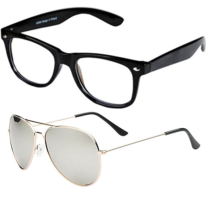 c1d5b3292fa Sheomy Unisex Combo Pack of Full Rim Unisex Spectacle Frame and Golden  Silver Mercury UV Protected