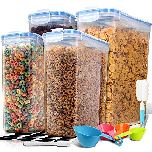 EXTRA LARGE Cereal Container, EAGMAK Airtight Dry Food Storage Containers, BPA Free Kitchen Pantry Cereal Storage Container Great for Flour, Snacks, Nuts & More (Set of 4, 213oz & 135oz)