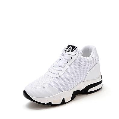 LILY999 Sneakers Donna Zeppa Interna Scarpe da Ginnastica Sportive Fitness  Tennis Tacco Zeppa 8 cm Nero 06bdfcb84a3