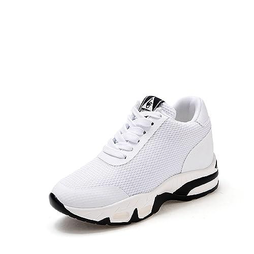 2e96ac48c0729b LILY999 Sneakers Donna Zeppa Interna Scarpe da Ginnastica Sportive Fitness  Tennis Tacco Zeppa 8 cm Nero