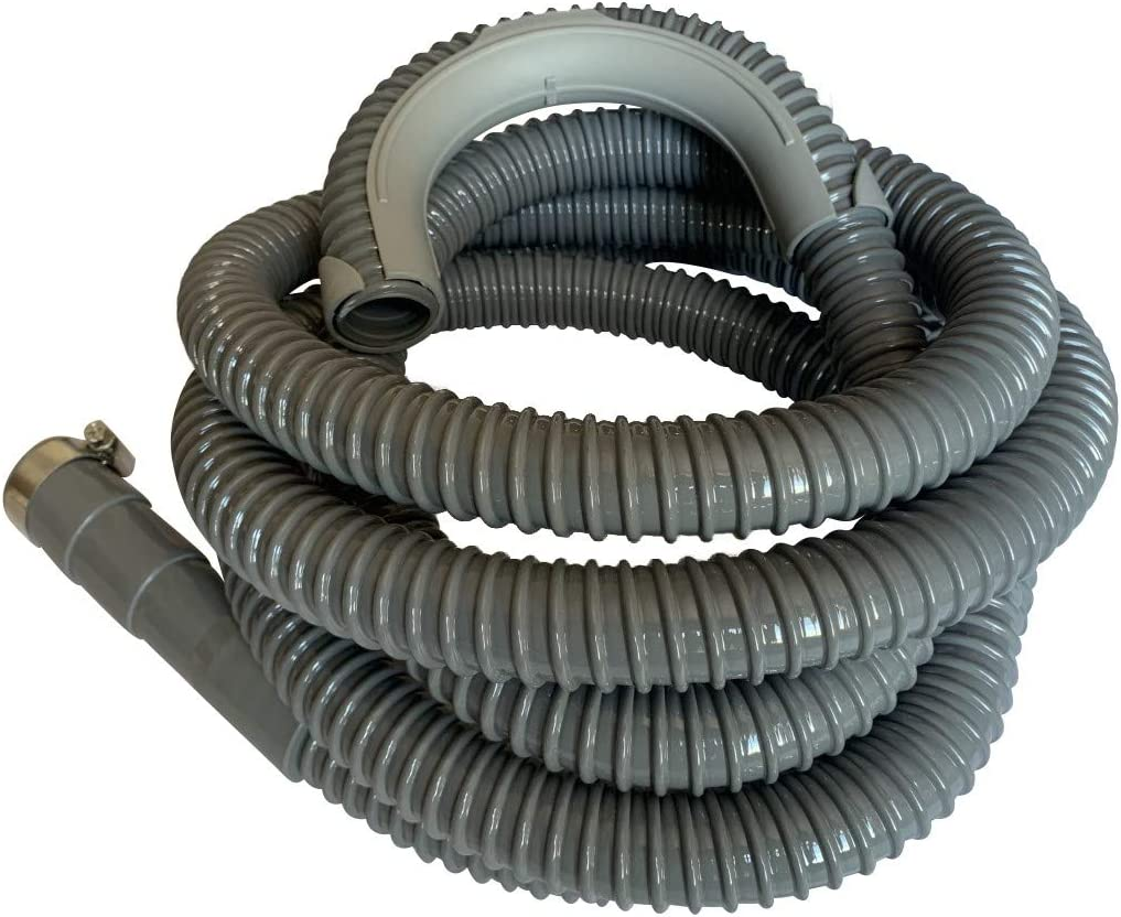 12 Ft - Washing Machine Drain Discharge Hose, Zulu Supply, Heavy Duty Corrugated Rubber, Universal Size, Fits Most Washing Machine Drain Discharge Outlets, Large, XL, Extra Long, Extension