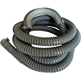 12Ft - Universal Washing Machine Drain Discharge Hose, Zulu Supply, Heavy Duty Corrugated Rubber,Fits Most Washer Drain Outle