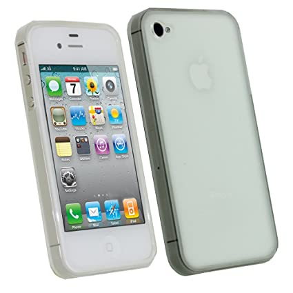 igadgitz Claro Case TPU Gel Funda Cover Carcasa para Apple iPhone 4 & 4S 4G 16gb 32gb 64gb + Pantalla Protector