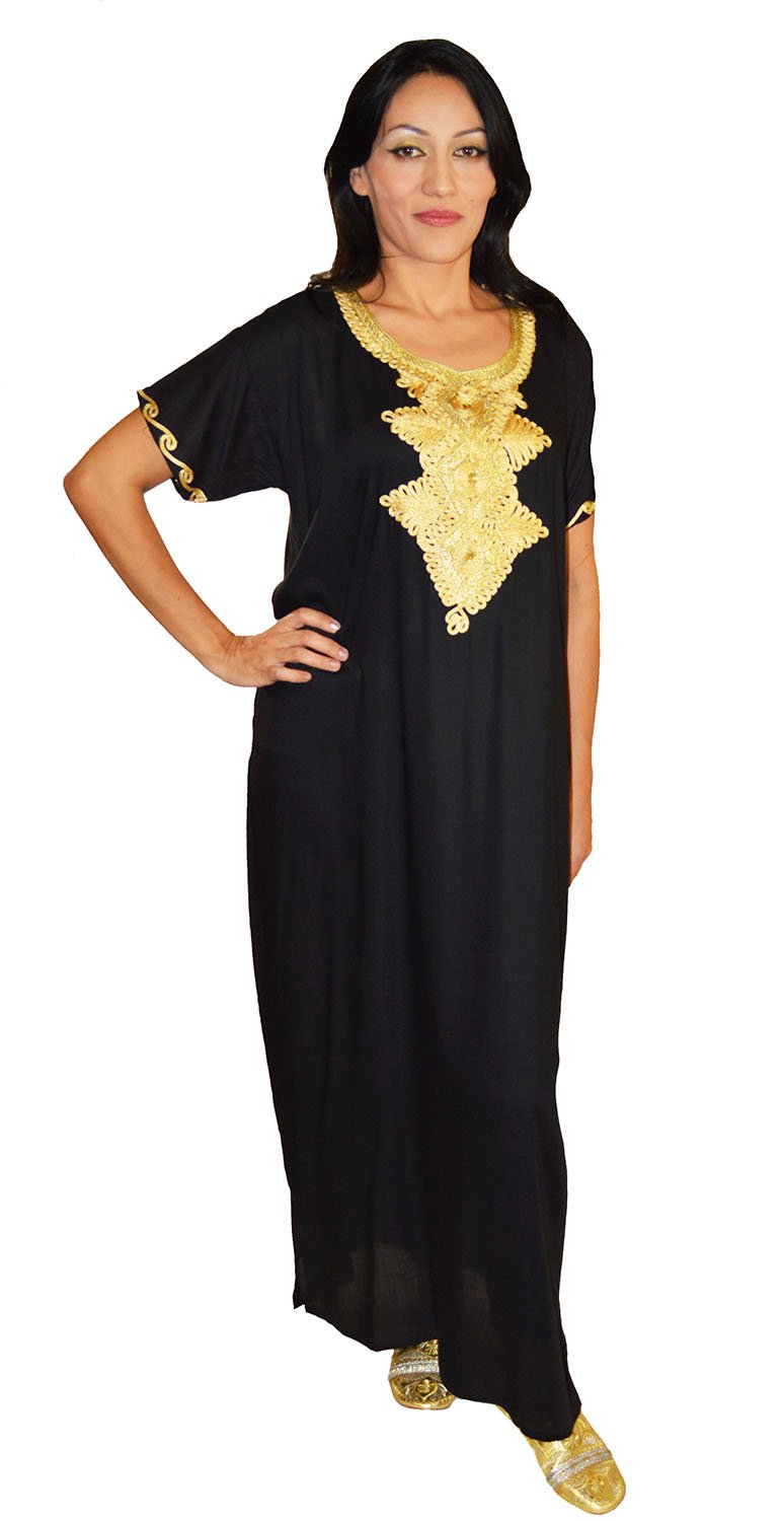 Moroccan Caftans Handmade Light Weight Cotton Hand Embroidery Andalusia Fits Small to Medium Black